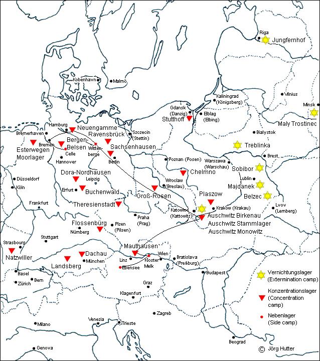 konzentrationslager karte Jörg Hutter   Übersichtskarte der Konzentrations  und