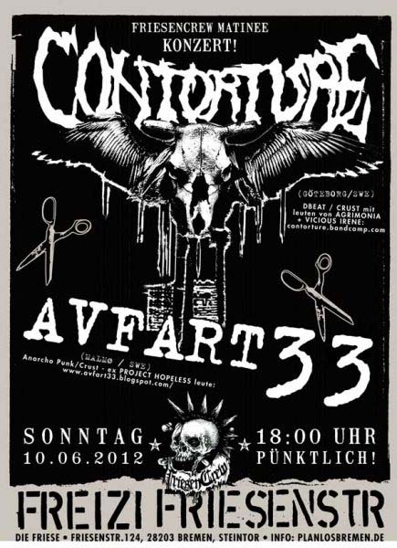 CONTORTURE (Sweden), AVFART 33 (Schweden),  JUZ Friese in der Friesenstraße 124, by Friesencrew, 21:00 h.