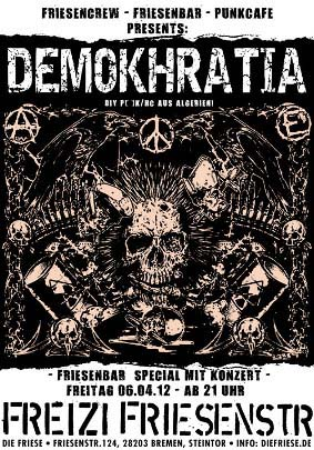 Friesencrew + Friesenbar + Punkcafé: Friesenbar special ...... DEMOKHRATIA (Algerien-Punk), JUZ Friese in der Friesenstraße 124, by Friesencrew, 21:00 h.