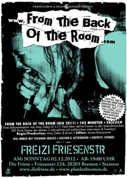 FROM THE BACK OF THE ROOM: Frauen in der US-Punk-Szene - Film 105 Minuten, UZ Friese in der Friesenstraße 124, by Friesencrew, 19:00 h.