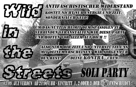 SOLIPARTY: WILD IN THE STREETS, JUZ Verden, , Lindhooper Straße 7 am Bahnhof, 27267 Verden, 21.00 h.