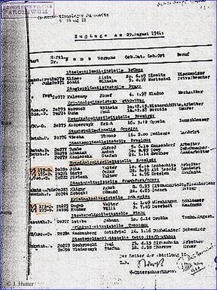 New Admission List Auschwitz Concentration Camp